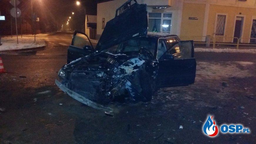Wypadek w centrum Śliwic! OSP Ochotnicza Straż Pożarna