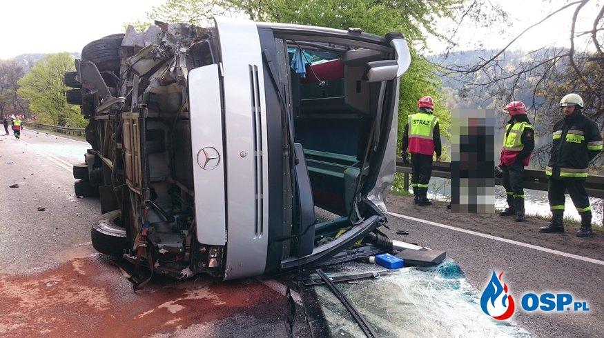 29.04.2016 Będzieszyna - wypadek autobusu OSP Ochotnicza Straż Pożarna