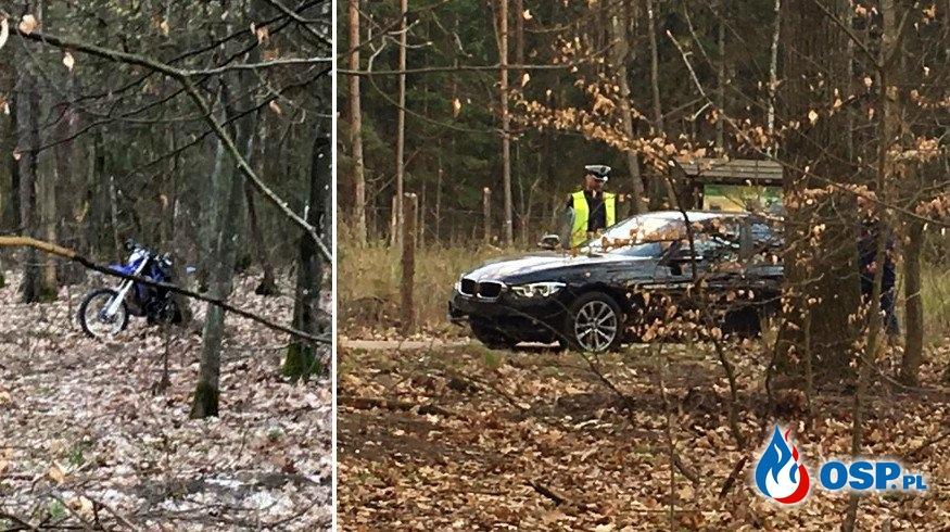 """Wypadek podczas policyjnego pościgu. """"Radiowóz przejechał po motocykliście"""". OSP Ochotnicza Straż Pożarna"""