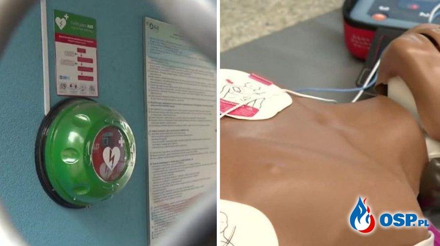 Ratownik nie skorzystał z defibrylatora AED. Poszkodowany jest w stanie ciężkim. OSP Ochotnicza Straż Pożarna