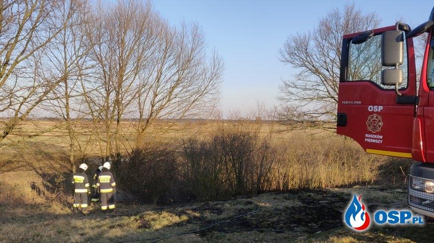 Pożar suchej trawy w Ruszkowie Pierwszym OSP Ochotnicza Straż Pożarna