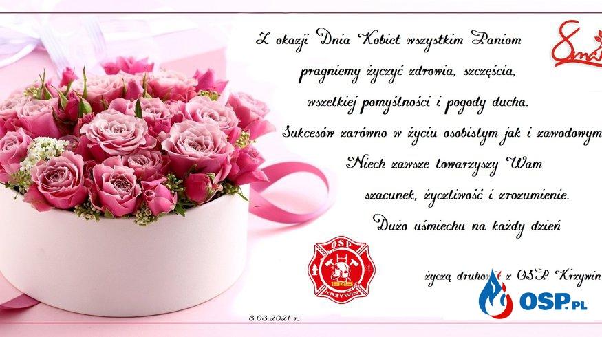 Życzenia z okazji Dnia Kobiet OSP Ochotnicza Straż Pożarna