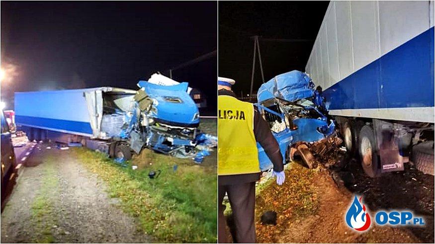 Cztery osoby zginęły w zderzeniu ciężarówki i busa. Tragiczny wypadek w Starym Nacpolsku. OSP Ochotnicza Straż Pożarna