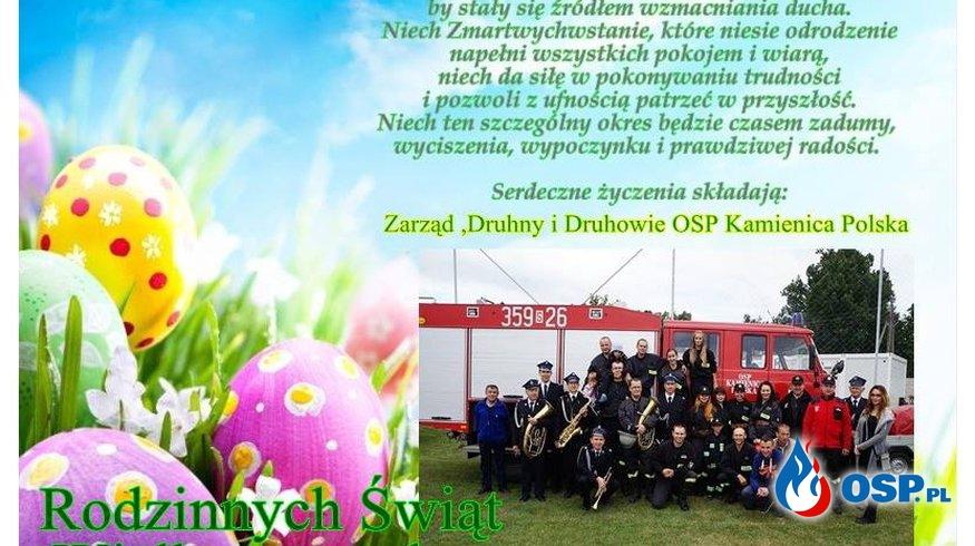 Życzenia Wielkanocne 2018r OSP Kamienica Polska OSP Ochotnicza Straż Pożarna