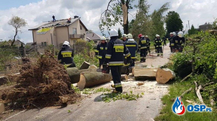 Trąba powietrzna zrywała dachy i wyrywała drzewa na Lubelszczyźnie OSP Ochotnicza Straż Pożarna