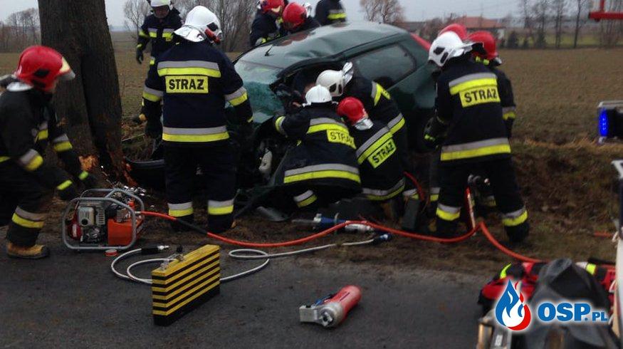 Gablin - wypadek samochodu osobowego OSP Ochotnicza Straż Pożarna