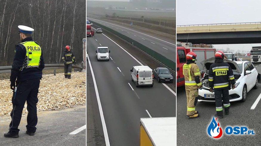 """Cyrk po wypadkach na A4, samochody pod prąd. """"Jeden prawie zderzył się z karetką"""". OSP Ochotnicza Straż Pożarna"""