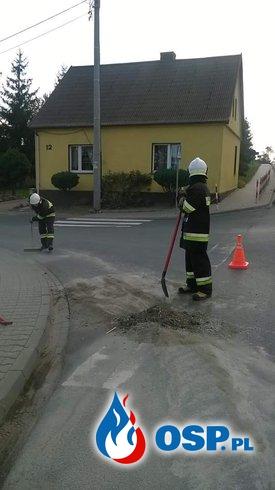 Beton na jezdni. OSP Ochotnicza Straż Pożarna