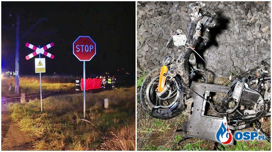 Motorower wjechał wprost pod pociąg. Zginęło dwóch mężczyzn. OSP Ochotnicza Straż Pożarna