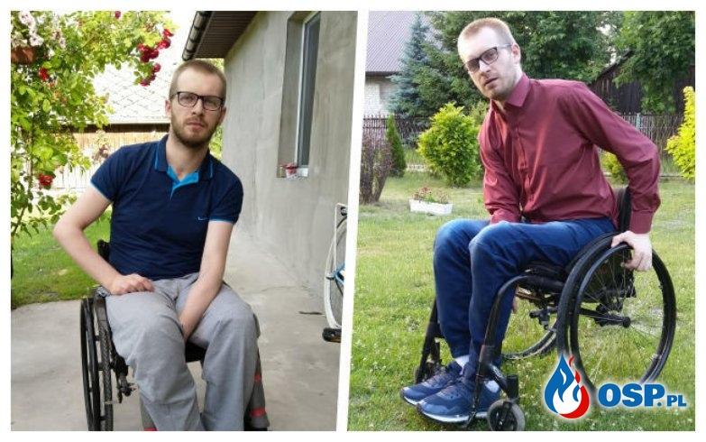 Strażak OSP wylądował na wózku inwalidzkim. Potrzebuje pomocy, by wrócić do zdrowia. OSP Ochotnicza Straż Pożarna
