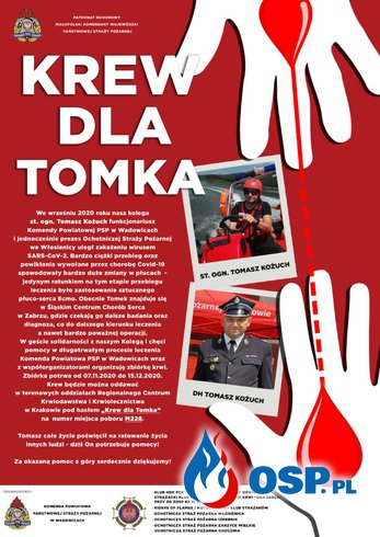 """Akcja krwiodawstwa """"Krew dla Tomka"""" OSP Ochotnicza Straż Pożarna"""