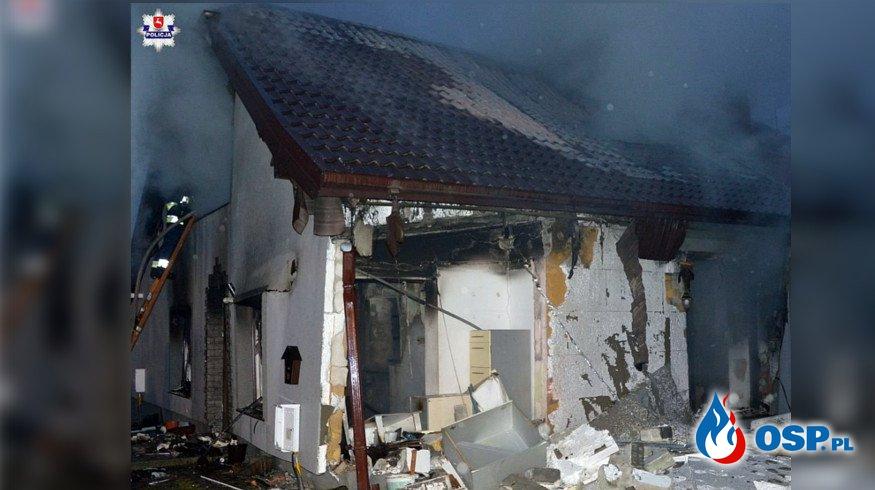 Dwoje dzieci oraz mama w szpitalu po wybuchu gazu. Eksplozja zniszczyła część ich domu. OSP Ochotnicza Straż Pożarna