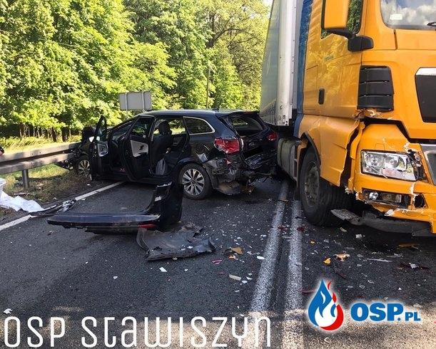 Dwie kolizje i wypadek w Zbiersku. W akcji śmigłowiec LPR. OSP Ochotnicza Straż Pożarna