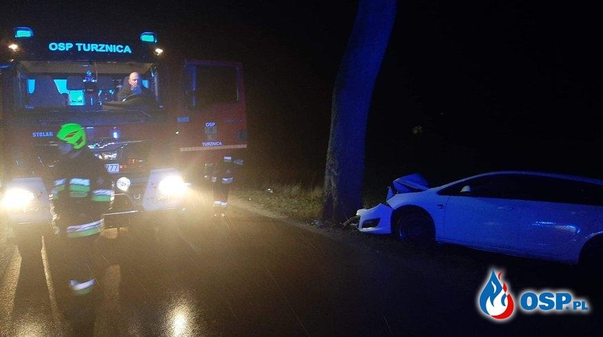 Wypadek auta osobowego w miejscowości Wirwajdy OSP Ochotnicza Straż Pożarna