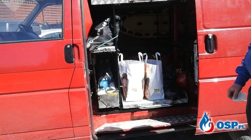 Dostarczenie paczek z żywnością OSP Ochotnicza Straż Pożarna