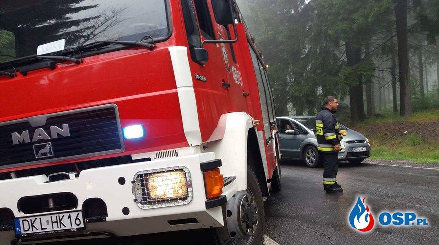 Plama oleju i kolizja na Drodze Stu Zakrętów (DW387) ! OSP Ochotnicza Straż Pożarna