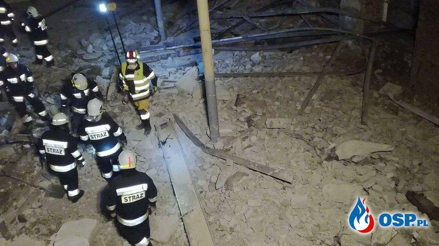 Gubin-Zawalony strop w opuszczonej fabryce 28.12.2017 OSP Ochotnicza Straż Pożarna