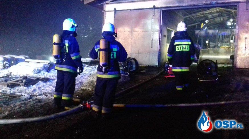 Pożar transformatora i hali magazynowej  OSP Ochotnicza Straż Pożarna