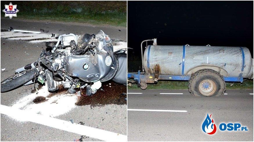 Motocyklista uderzył w wóz z szambem, zginął na miejscu OSP Ochotnicza Straż Pożarna