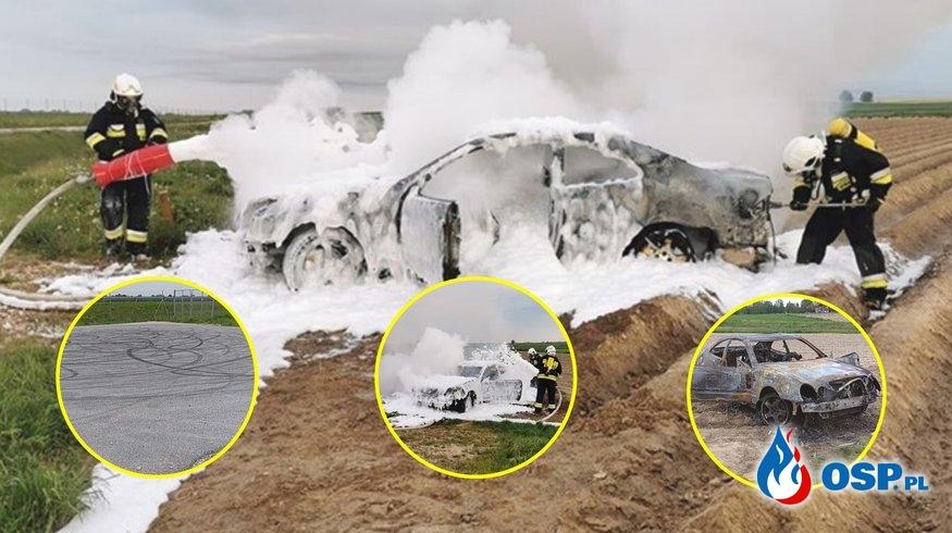 Młody kierowca kręcił bączki nowo kupionym mercedesem. Ugasili go strażacy. OSP Ochotnicza Straż Pożarna