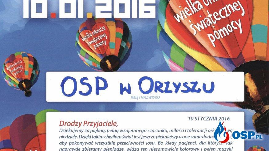 Podziękowanie od sztabu WOŚP OSP Ochotnicza Straż Pożarna