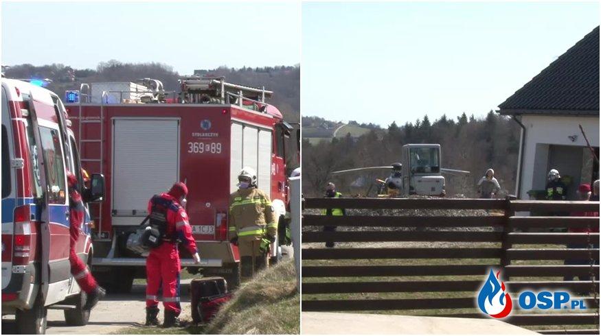 Ojciec potrącił koparką 2-letniego syna. Chłopiec zmarł. OSP Ochotnicza Straż Pożarna