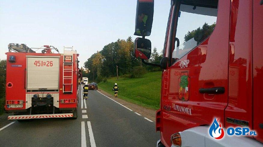 Wyjazd alarmowy OSP Limanowa zderzenie motocykla z samochodem OSP Ochotnicza Straż Pożarna