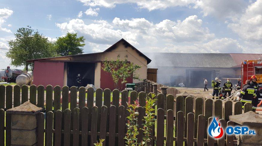 Pożar garaży gospodarczych w Krobi - OSP LIPNIKI OSP Ochotnicza Straż Pożarna