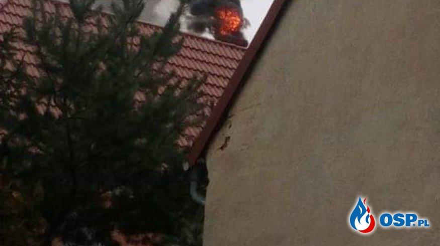 Pożar sadzy w kominie na plebani w Ligocie Bialskiej OSP Ochotnicza Straż Pożarna
