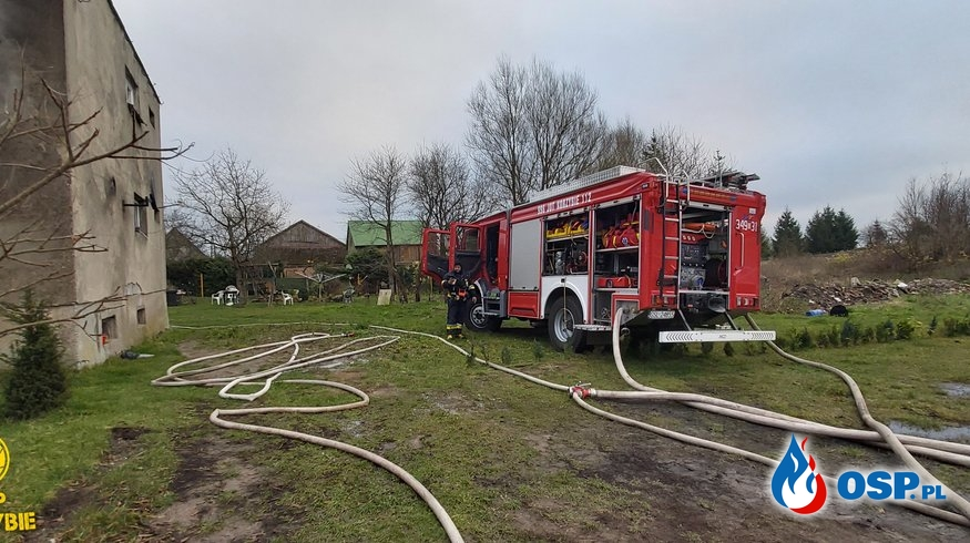 Pożar budynku Mieszkalnego Barwino OSP Ochotnicza Straż Pożarna