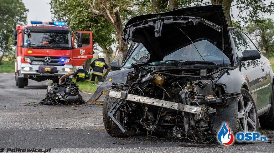Audi A3 uderzyło w dwa drzewa. Z samochodu wypadł silnik, kierowca walczy o życie. OSP Ochotnicza Straż Pożarna