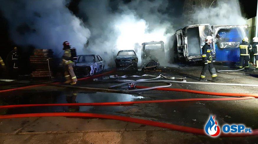 5 aut spłonęło w nocnym pożarze na Opolszczyźnie OSP Ochotnicza Straż Pożarna