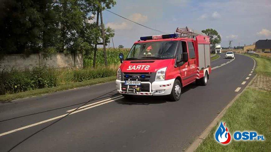 Pożar przyczepy Urbanie. OSP Ochotnicza Straż Pożarna