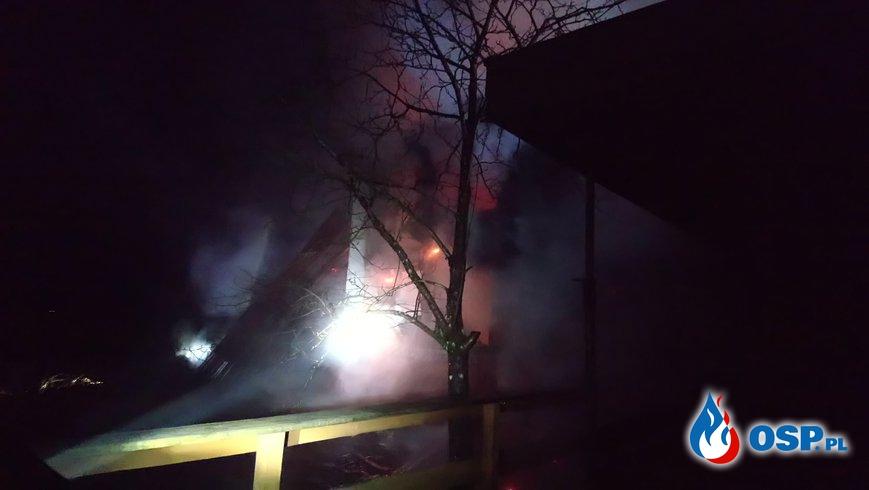 Pożar domku letniskowego! OSP Ochotnicza Straż Pożarna