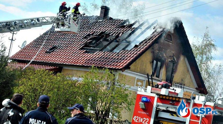 Pożar domu w Kluczach OSP Ochotnicza Straż Pożarna