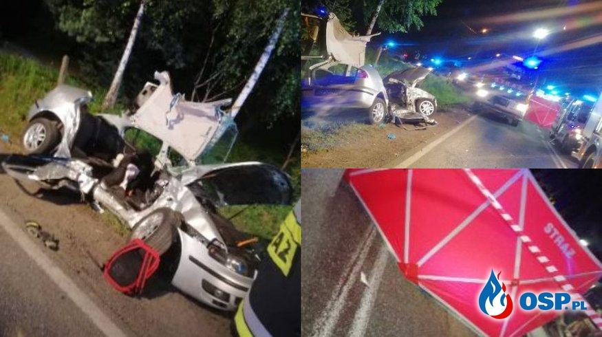 5 osób zakleszczonych po zderzeniu samochodu osobowego z ciężarówką! OSP Ochotnicza Straż Pożarna