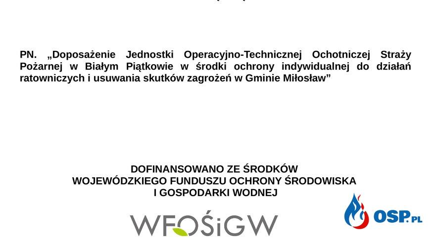 Dotacja z WFOŚ i NFOŚ OSP Ochotnicza Straż Pożarna