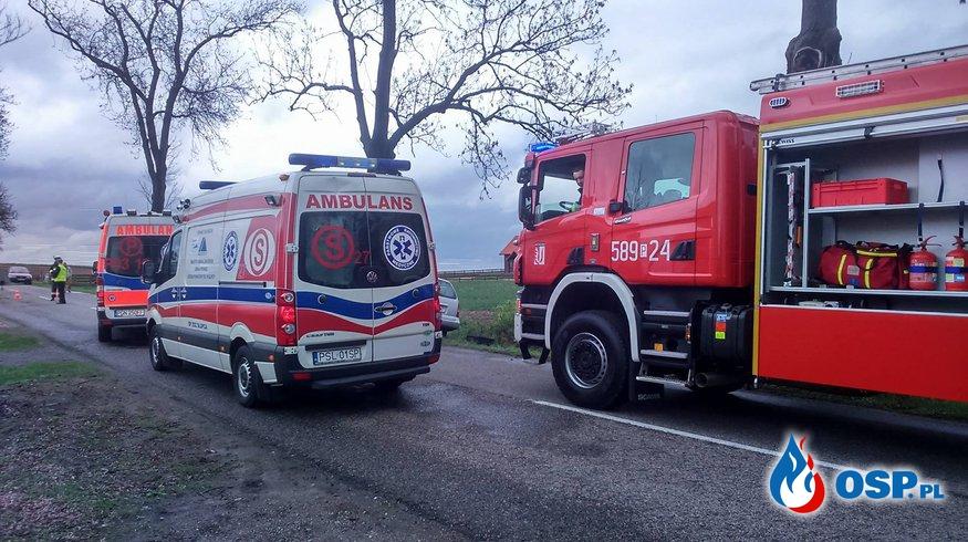 Wypadek w Myślatkowie, Dwie osoby poszkodowane OSP Ochotnicza Straż Pożarna