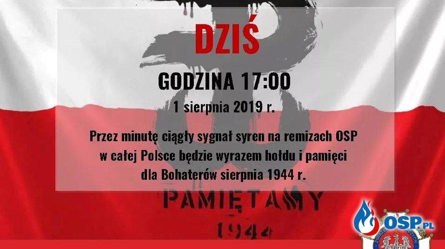 75. rocznica Wybuchu Powstania Warszawskiego OSP Ochotnicza Straż Pożarna