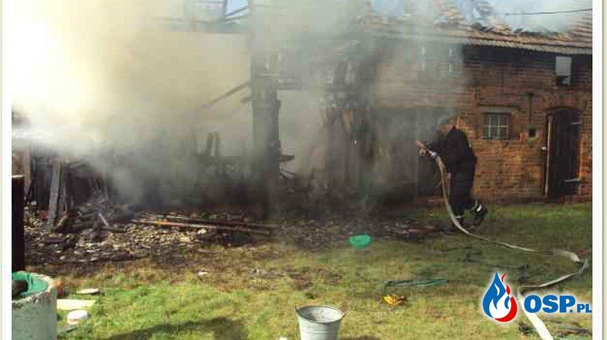 Rzecin - pożar budynku gospodarczego OSP Ochotnicza Straż Pożarna