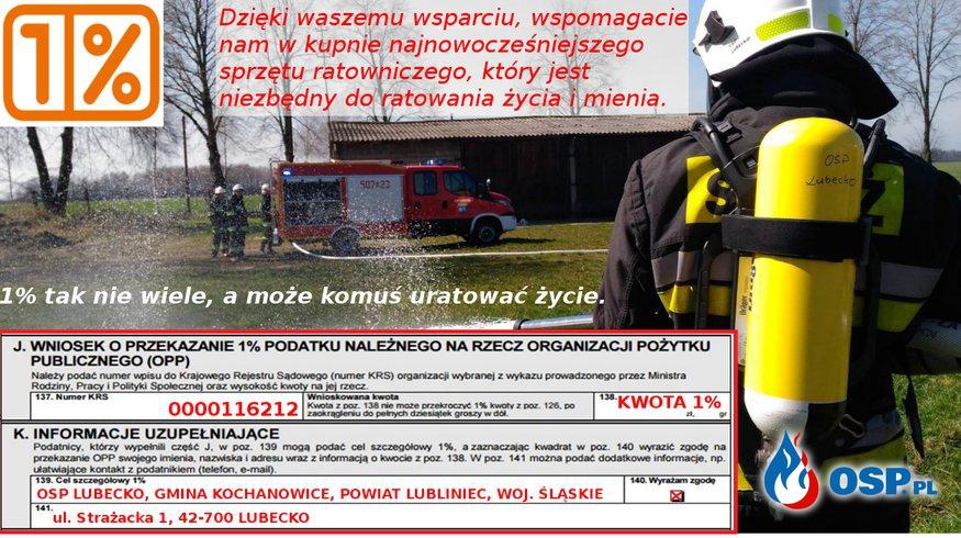 Przekaż 1% podatku na OSP Lubecko OSP Ochotnicza Straż Pożarna
