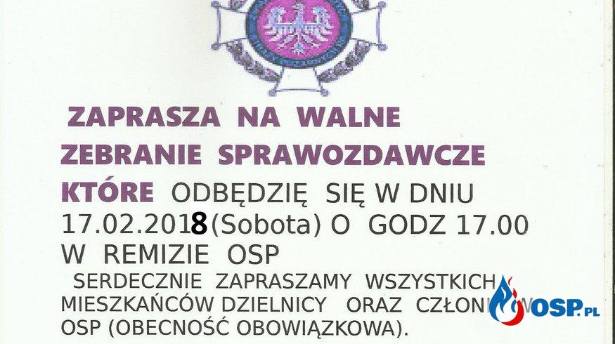 ZEBRANIE SPRAWOZDAWCZE 17.02.2018  OSP Ochotnicza Straż Pożarna