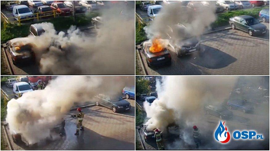 4-latek i 9-latek spowodowali pożar. Spłonęły dwa samochody. OSP Ochotnicza Straż Pożarna