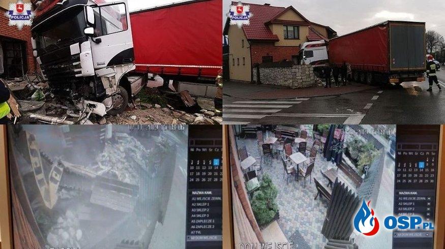 Ciężarówka staranowała ogródek piwny i wbiła się w restaurację! Nagranie z monitoringu. OSP Ochotnicza Straż Pożarna