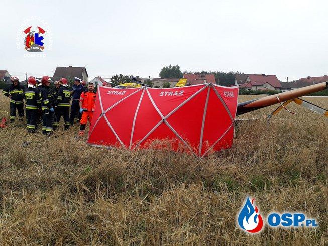 Rozbity helikopter w Domecku OSP Ochotnicza Straż Pożarna