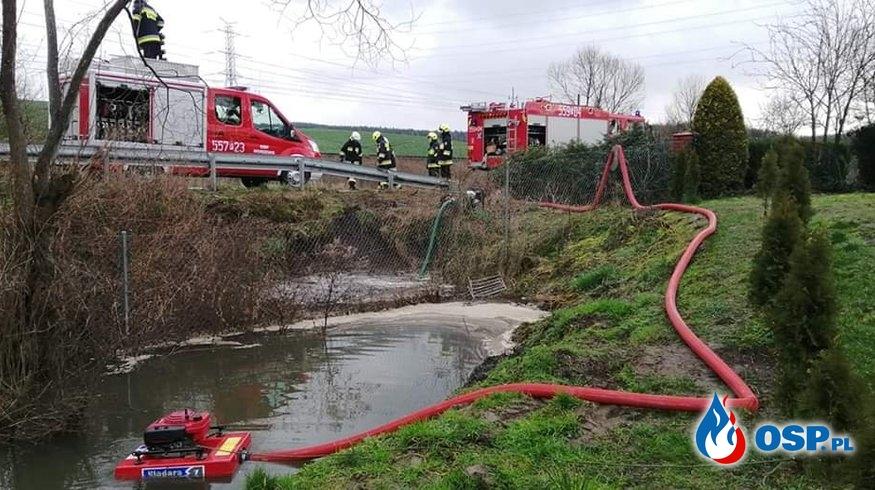 [3, 4 MZ / 2020] Wypompowanie wody z zalanego przepustu OSP Ochotnicza Straż Pożarna