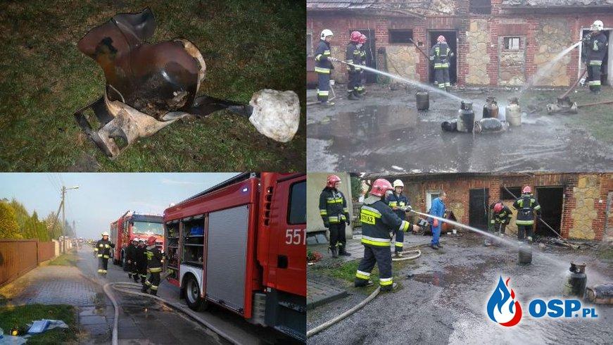 Trzy butle z gazem wybuchły podczas pożaru w Bieniądzicach! OSP Ochotnicza Straż Pożarna