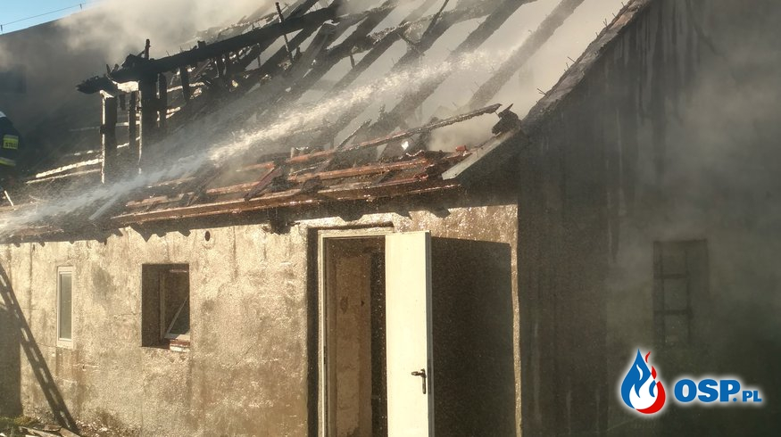 Pożar budynku gospodarczego w Nawiadach 29.04.2017 OSP Ochotnicza Straż Pożarna