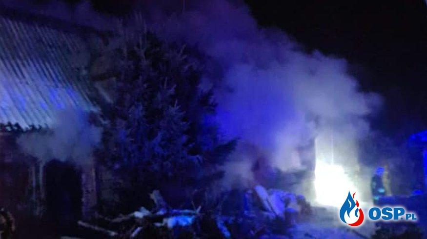 Koźmin – pożar budynku gospodarczego OSP Ochotnicza Straż Pożarna