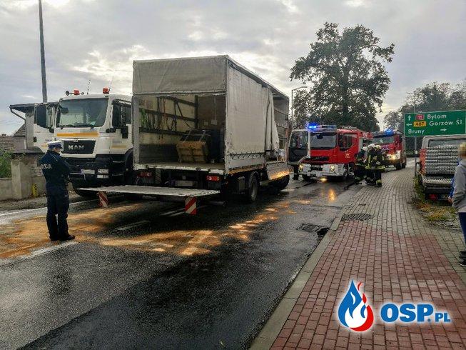 Zderzenie dwóch samochodów ciężarowych na dk 11 OSP Ochotnicza Straż Pożarna